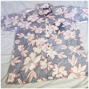Vintage Navy Blue Hibiscus Flower Hawiian Shirt